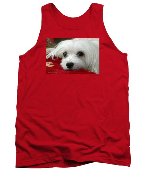 Tank Top featuring the mixed media Snowdrop The Maltese by Morag Bates