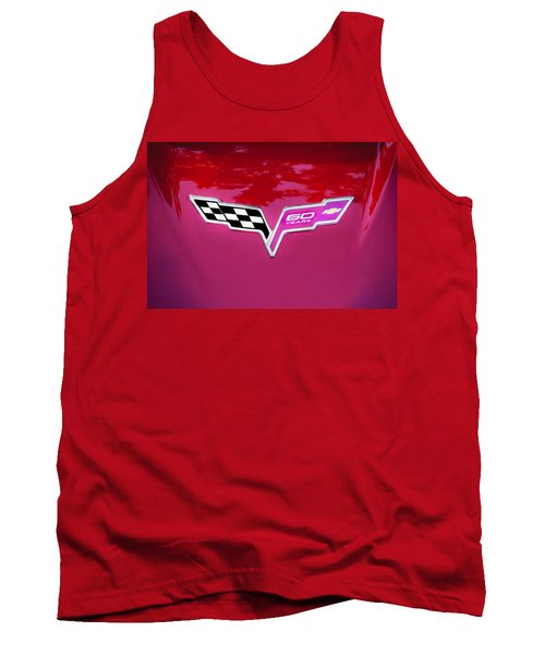 2013 Corvette 60th Anniversary Hood Logo Painted Tank Top