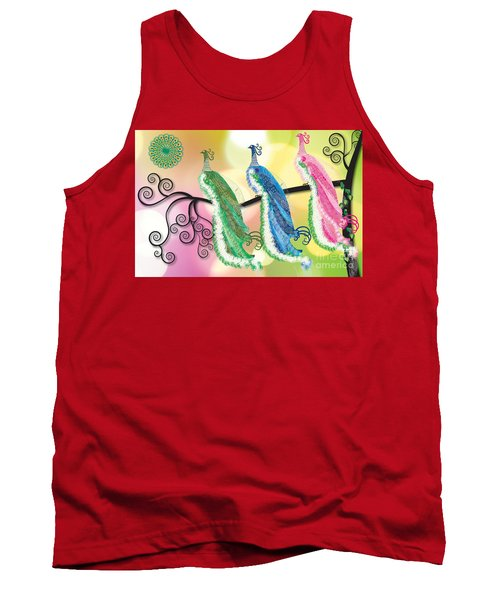 Tank Top featuring the digital art Visionary Peacocks by Kim Prowse