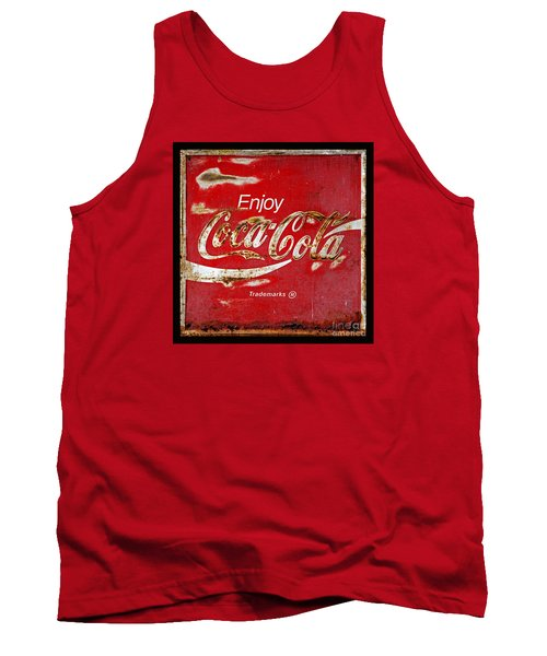 Coca Cola Vintage Rusty Sign Black Border Tank Top