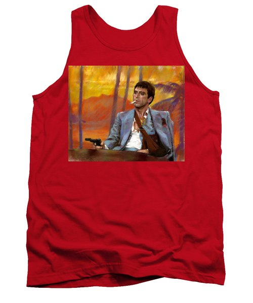 Tank Top featuring the drawing Scarface by Viola El