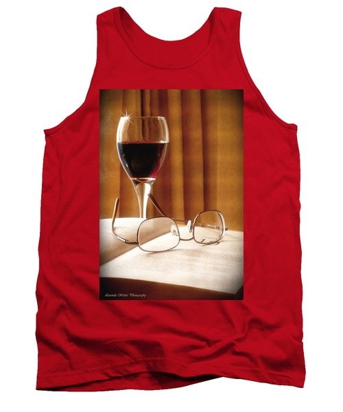 A Good Book And A Glass Of Wine Tank Top by Lucinda Walter