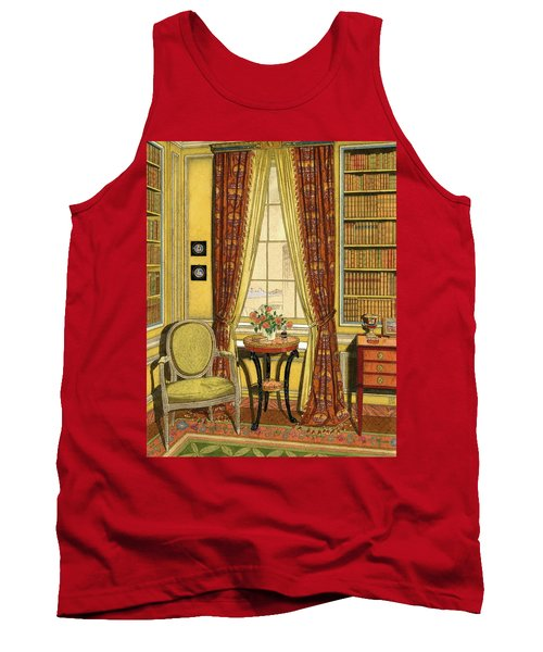 A Yellow Library With A Vase Of Flowers Tank Top