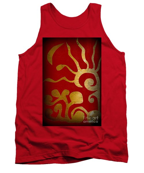 Abstract Gold Collage Tank Top by Patricia Cleasby