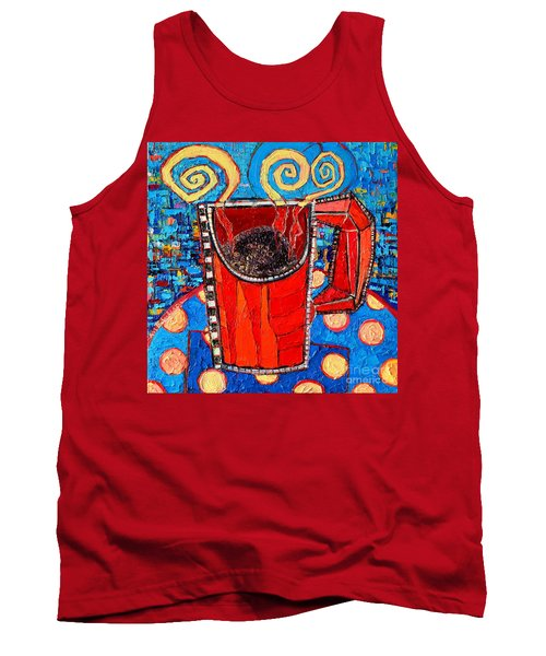 Abstract Hot Coffee In Red Mug Tank Top by Ana Maria Edulescu
