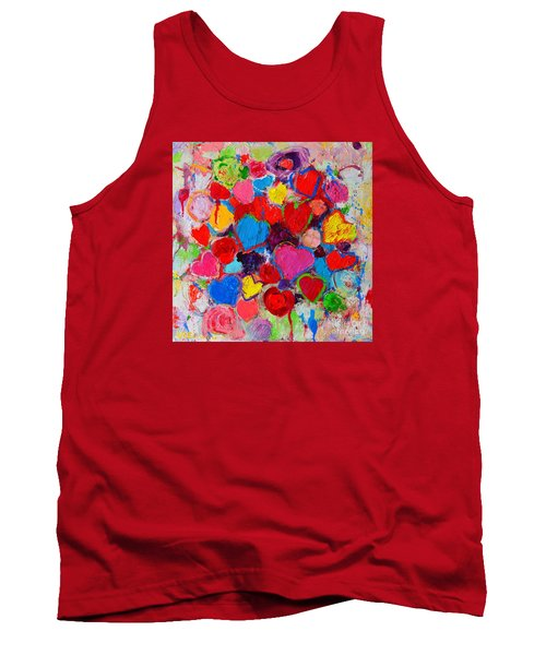 Abstract Love Bouquet Of Colorful Hearts And Flowers Tank Top