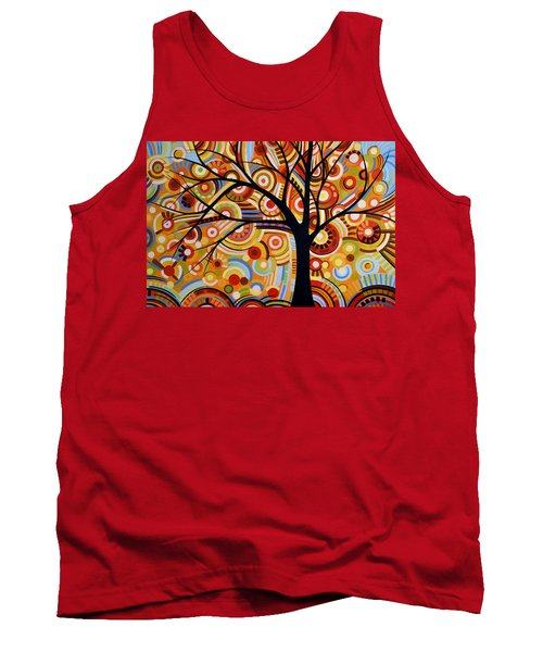 Abstract Modern Tree Landscape Thoughts Of Autumn By Amy Giacomelli Tank Top by Amy Giacomelli