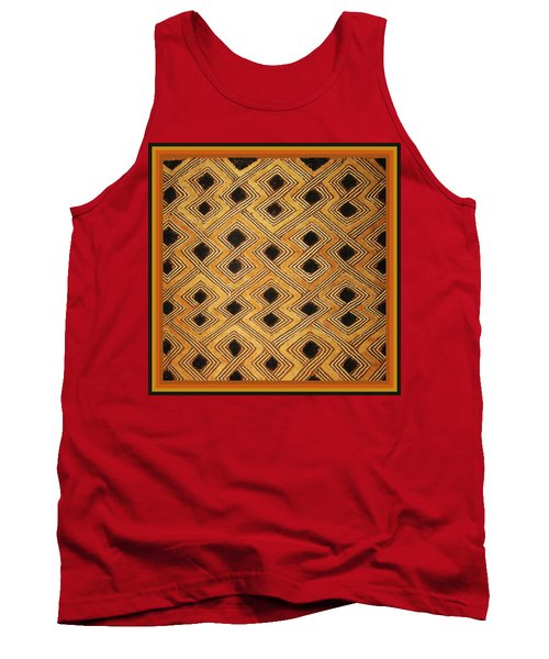 Tank Top featuring the digital art African Zaire Congo Kuba Textile by Vagabond Folk Art - Virginia Vivier