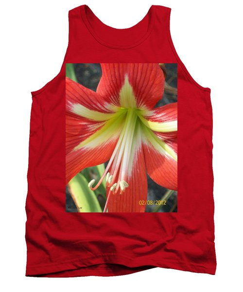 Tank Top featuring the photograph Amarylis Full Bloom by Belinda Lee