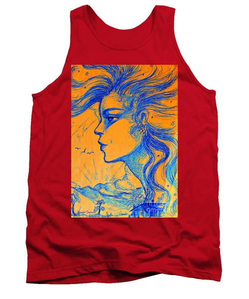 Tank Top featuring the drawing Anima Sunset by Leanne Seymour
