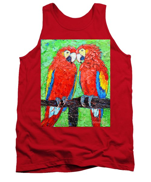 Ara Love A Moment Of Tenderness Between Two Scarlet Macaw Parrots Tank Top