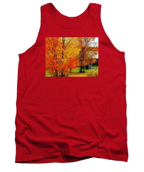 Tank Top featuring the photograph Autumn Trees By Barn by Rodney Lee Williams