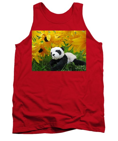 Tank Top featuring the photograph Baby Panda Under The Golden Sky by Ausra Huntington nee Paulauskaite