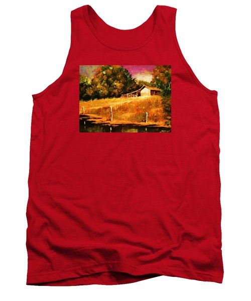 Tank Top featuring the painting Barn Above The Creekbed by Al Brown