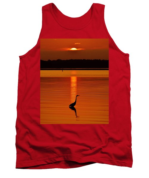 Bayside Ripples - A Heron Takes An Evening Stroll As The Sun Sets Behind The Clouds On The Bay Tank Top