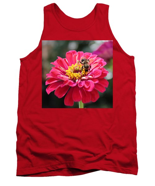 Tank Top featuring the photograph Bee On Pink Flower by Cynthia Guinn