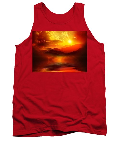 Tank Top featuring the mixed media Before The Sun Goes To Sleep by Gabriella Weninger - David