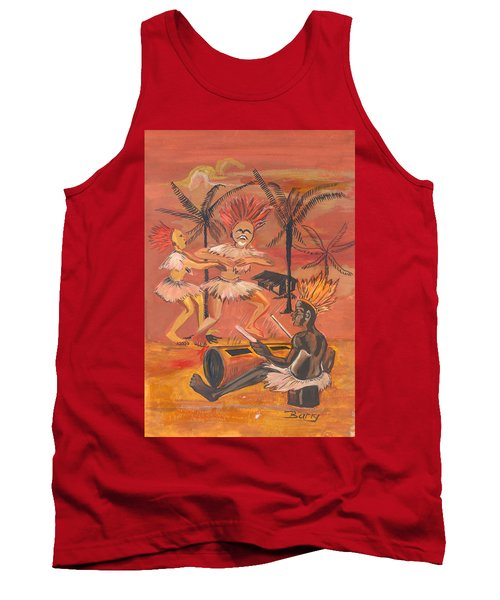 Tank Top featuring the painting Bikutsi Dance From Cameroon by Emmanuel Baliyanga