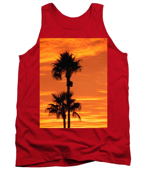 Tank Top featuring the photograph Blazing Sunset by Deb Halloran