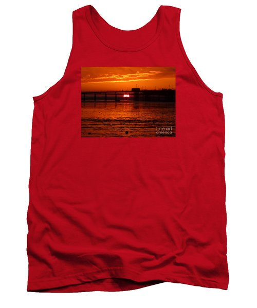 Tank Top featuring the photograph Blazing Sunset by Vicki Spindler
