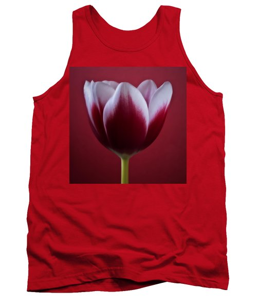 Abstract Red White Flowers Tulips Macro  Photography Art Tank Top by Artecco Fine Art Photography