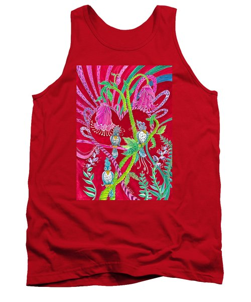 Tank Top featuring the painting Blue Bird Trio And Heart by Adria Trail