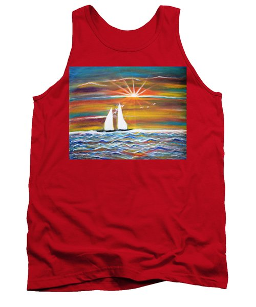 Boats At Sunset Tank Top