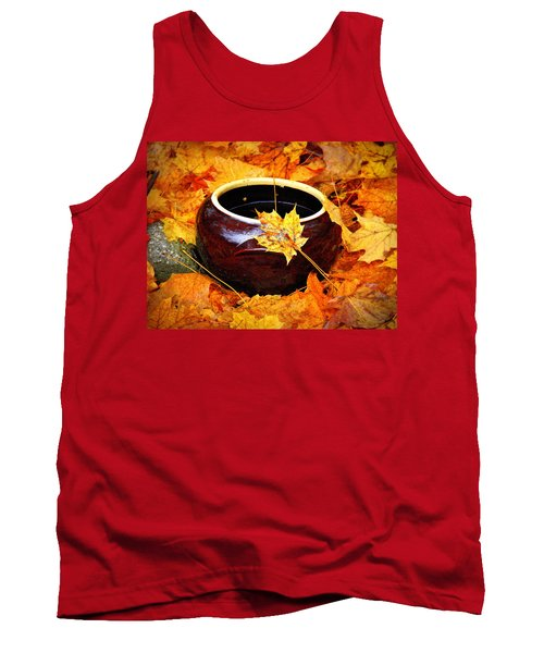 Tank Top featuring the photograph Bowl And Leaves by Rodney Lee Williams