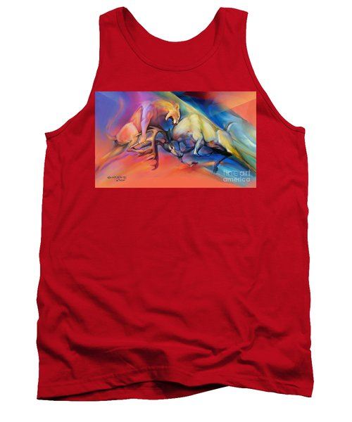 Tank Top featuring the painting Buck Off by Rob Corsetti