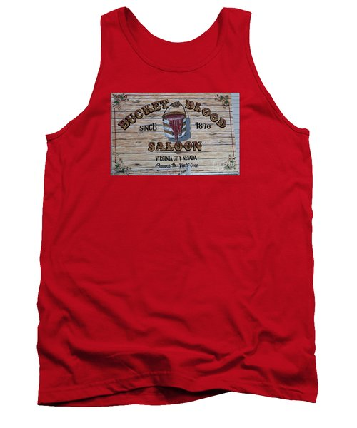 Bucket Of Blood Saloon 1876 Tank Top by David Millenheft