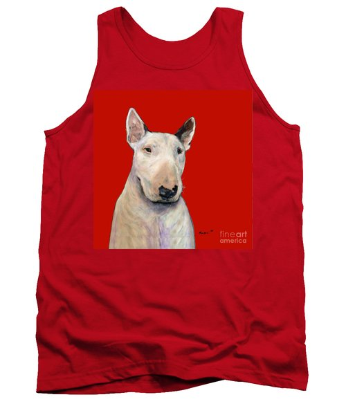Bull Terrier On Red Tank Top