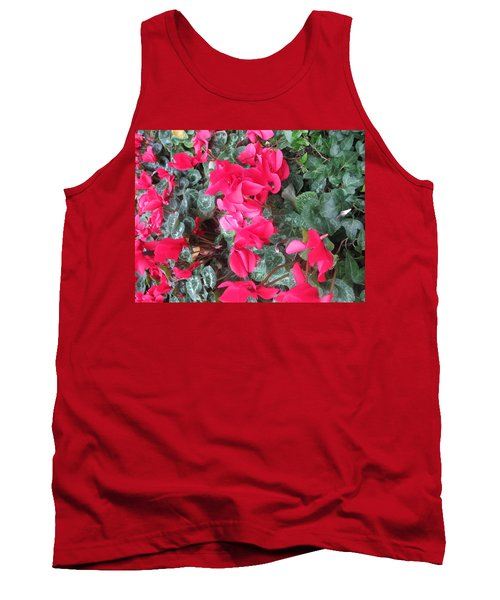 Tank Top featuring the photograph Butterfly Garden Red Exotic Flowers Las Vegas by Navin Joshi