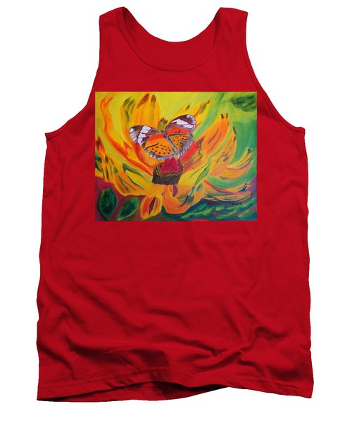 Tank Top featuring the painting Butterfly Jungle by Meryl Goudey