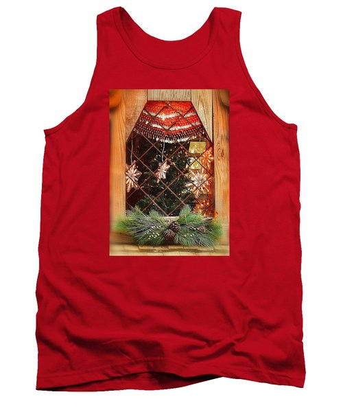 Tank Top featuring the photograph Cabin Christmas Window by Nadalyn Larsen