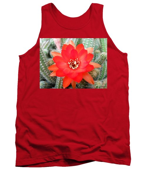 Cactus Flower Tank Top by Ramona Matei