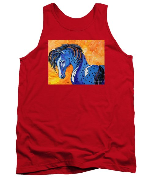 Tank Top featuring the painting Cadet The Blue Horse by Janice Rae Pariza