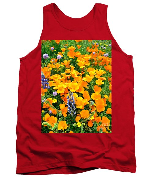 California Poppies And Betham Lupines Southern California Tank Top by Dave Welling