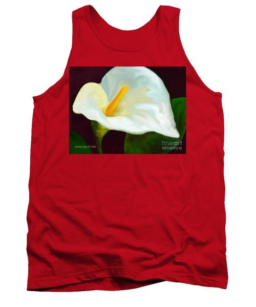 Tank Top featuring the painting Calla Lily Painting by Annie Zeno