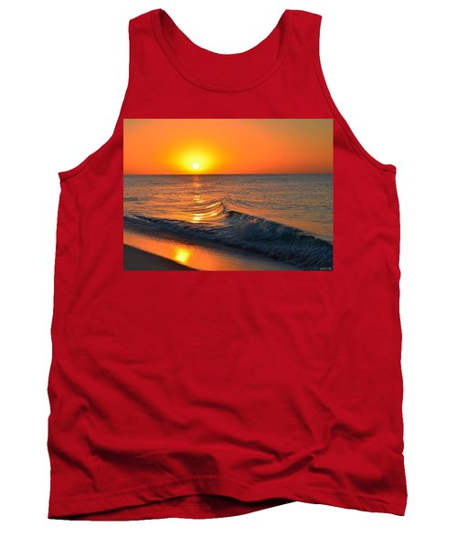 Calm And Clear Sunrise On Navarre Beach With Small Perfect Wave Tank Top by Jeff at JSJ Photography