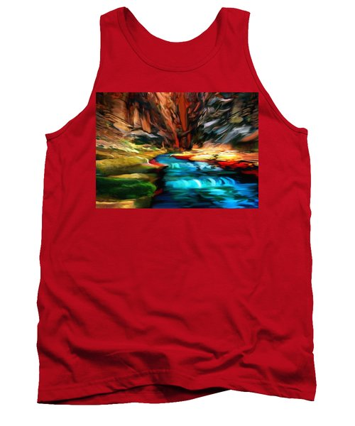 Canyon Waterfall Impressions Tank Top by Bob and Nadine Johnston