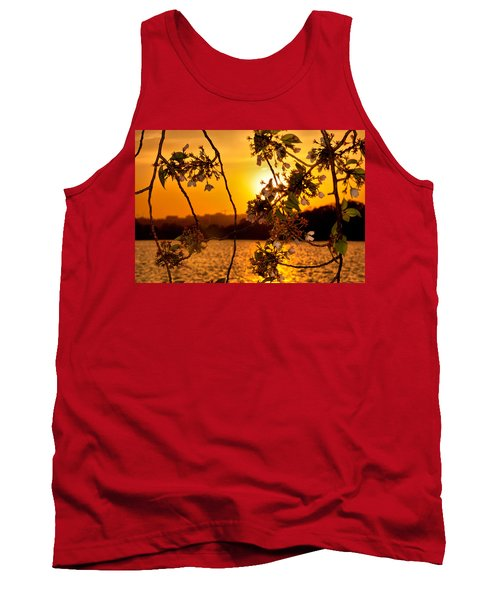 Tank Top featuring the photograph Cherry Blossom Sunset by Mitchell R Grosky