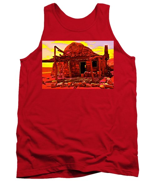 Cliff Dwellers In Red Tank Top by Jim Hogg