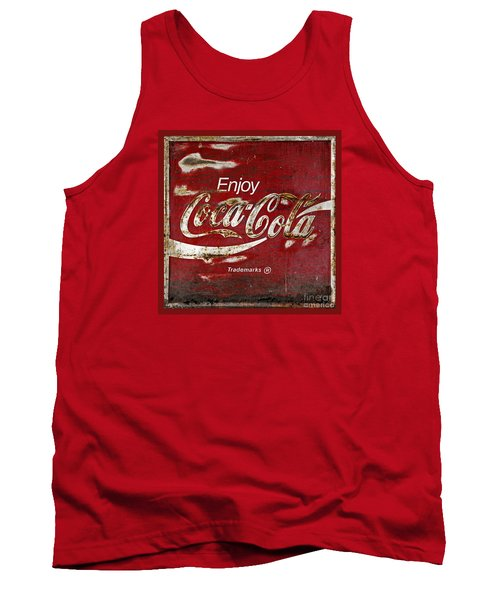 Coca Cola Red Grunge Sign Tank Top by John Stephens
