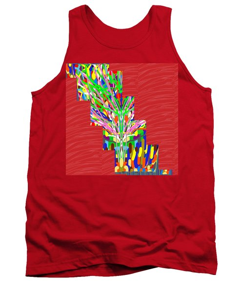 Colorful Tree Of Life Abstract Red Sparkle Base Tank Top by Navin Joshi