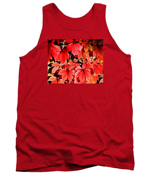 Crimson Virginia Creeper 2 Tank Top by Danielle  Parent