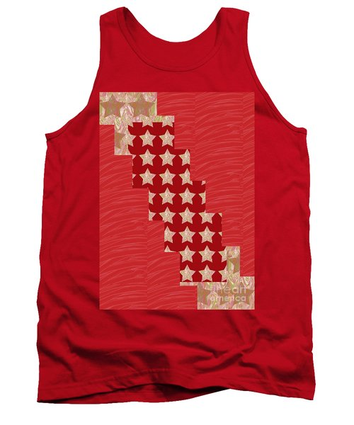Cross Through Sparkle Stars On Red Silken Base Tank Top