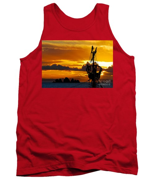 Crows Nest Silhouette On Newfoundland Coast Tank Top by Les Palenik