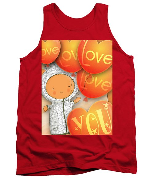Cute Teddy With Lots Of Love Balloons Tank Top by Lenny Carter