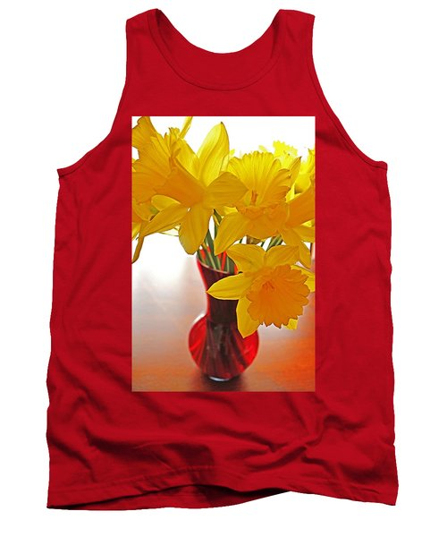 Tank Top featuring the photograph Daffodils In Red Vase by Diane Alexander