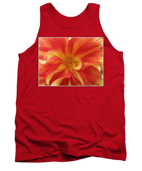 Dahlia Unfurling In Yellow And Red Tank Top by Dora Sofia Caputo Photographic Art and Design